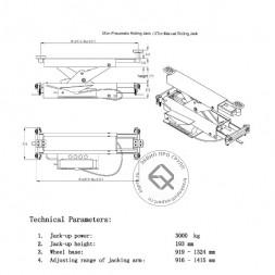 KraftWell KRWJ3P Траверса пневмогидравлическая 3 т