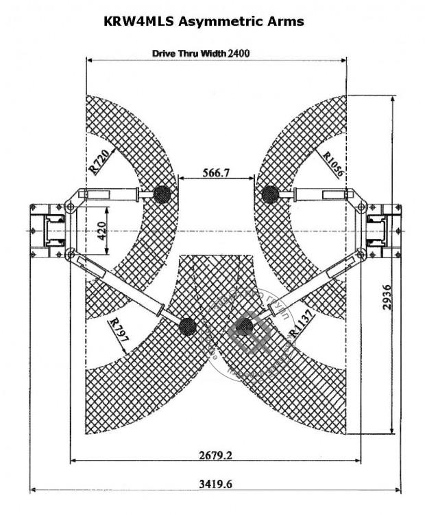 Подъемник автомобильный KraftWell KRW4MLS схема