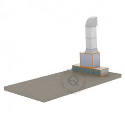 WiederKraft WDK-411 Зона подготовки с вытяжкой через фильтра вентиляционной установки 18 000 м3/ч