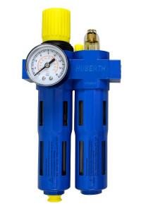 "Huberth RP208041 Фильтр-лубрикатор с регулятором давления и манометром, 3150 л/мин, 16 бар, 1/2"""