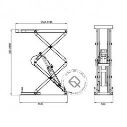 KraftWell KRW3.2U Подъемник ножничный короткий г/п 3200 кг. заглубляемый